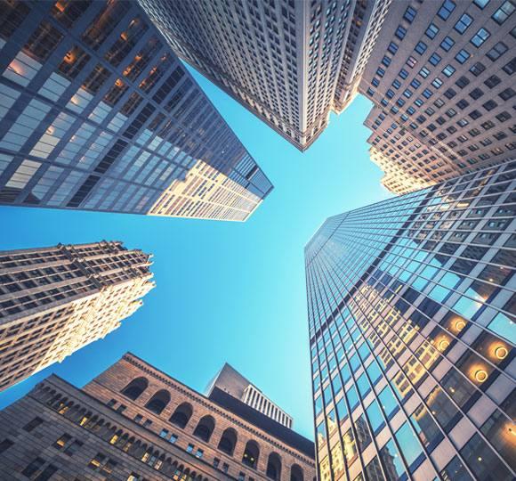 Buildings in New York against the sky